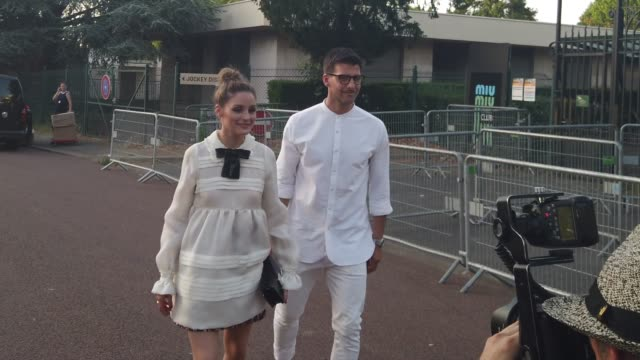 olivia palermo wears a white dress and a black sequined bow tie ; johannes huebl wears a white shirt, glasses, outside miu miu club 2020, on june 29,... - shirt and tie stock videos & royalty-free footage