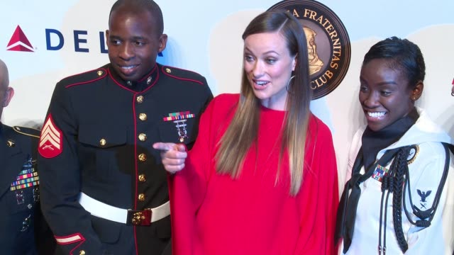 Olivia Wilde and members of the armed services at Friars Club Honors Martin Scorsese With Entertainment Icon Award at Cipriani Wall Street on...