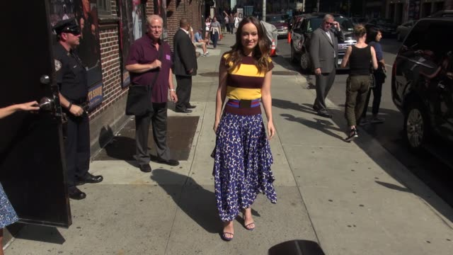 Olivia Wilde arrives at the Late Show with David Letterman poses for photographers in Celebrity Sightings in New York
