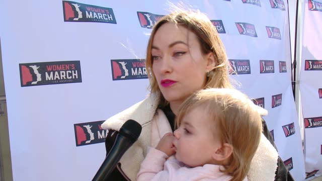INTERVIEW Olivia Wilde at 2018 Women's March Los Angeles on January 20 2018 in Los Angeles California