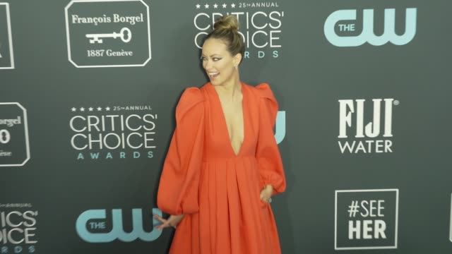 olivia wilde at the 25th annual critics' choice awards at barker hangar on january 12 2020 in santa monica california - gif stock videos and b-roll footage