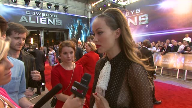olivia wilde at the cowboys aliens uk premiere at london england - cowboys & aliens stock videos and b-roll footage