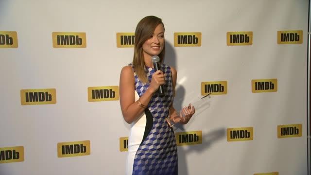 SPEECH Olivia Wilde on receiving the award at Olivia Wilde Receives IMDb's FirstEver STARmeter Award At TIFF 2013 on 9/9/2013 in Toronto Canada