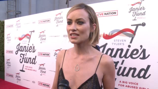 INTERVIEW Olivia Wilde on the event at Steven Tyler and Live Nation presents Inaugural Janie's Fund Gala GRAMMY Viewing Party in Los Angeles CA