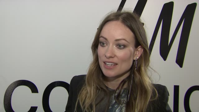 olivia wilde on what tonight's event is about, what she's wearing, what sustainable fashion is, what she likes about h&m's approach, who she feels... - interview raw footage stock videos & royalty-free footage