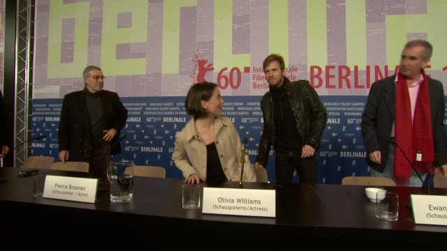 olivia williams pierce brosnan ewan mcgreggor at the the ghost writer press conference 60th berlin film festival at berlin - pierce brosnan stock videos and b-roll footage