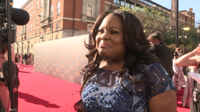 red carpet interviews ENGLAND London Kensington Royal Albert Hall EXT Amber Riley interview SOT Tim Firth and Gary Barlow on red carpet and interview...
