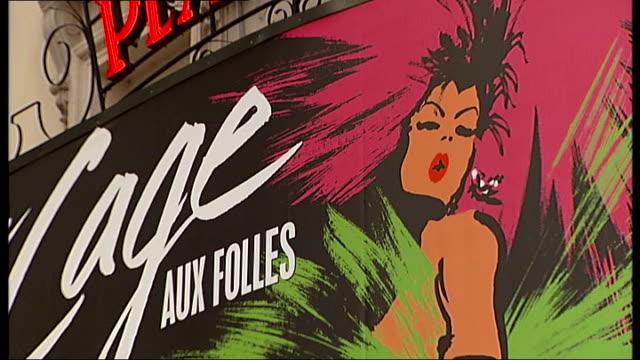 olivier awards preview r26010904 ext general views of the playhouse theatre advertising current musical 'la cage aux folles' - itv london tonight weekend stock videos & royalty-free footage