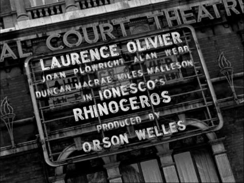 england london belgravia sloane square entrance to the royal court theatre gv sign for ionescu's 'rhinoceros' orson welles production starring... - itv evening bulletin stock videos & royalty-free footage