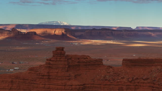 oljato-monument valley in morning light - aerial - navajo culture stock videos & royalty-free footage