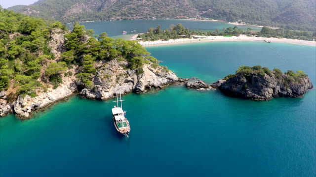 oludeniz - aerial video - turkey stock videos and b-roll footage