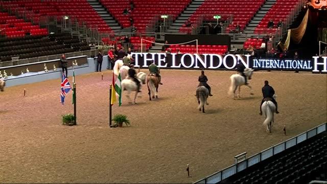 vídeos de stock, filmes e b-roll de horse dancing rehearsals **music heard sot** riders on horseback in arena during rehearsals - montar um animal