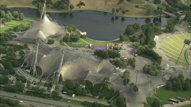 AERIAL Olympiapark, Munich, Bavaria, Germany
