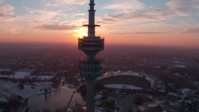 olympiapark, olympiastadion, münchen, winter - munich stock videos & royalty-free footage