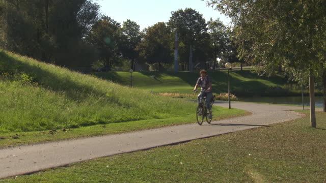 Olympiapark,  Park, biker, trees,  sunny, blue sky, lake, water
