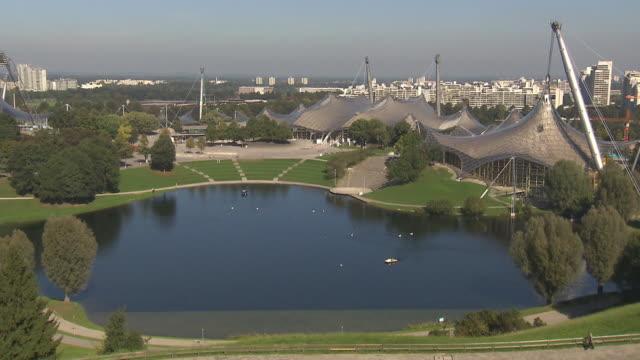 Olympiapark,  Park from above,  skyline of Munich, blue sky