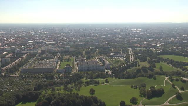 Olympiapark,  Park from above, skyline of Munich