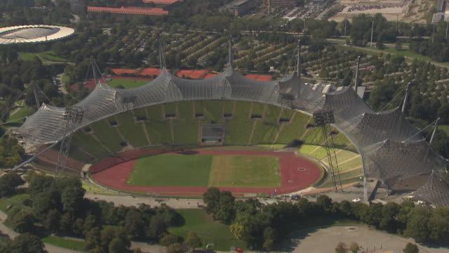 Olympiapark,  Park, Olympiastadion from above, trees, sunny, traffic, street