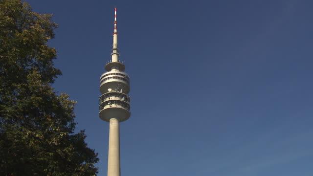 Olympiapark,  Park, Olympiaturm, blue sky, tree
