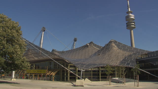 Olympiapark,  Park, Olympiaturm, Olympiahalle, sunny, blue sky