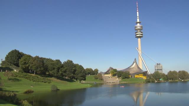 Olympiapark,  Park, Olympiaturm, Olympiasee, lawn, trees, building of BMW