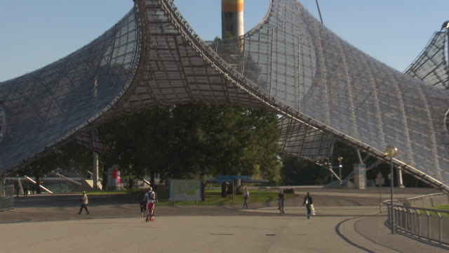 Olympiapark,  Park, skater, trees, walking people, sunny, blue sky