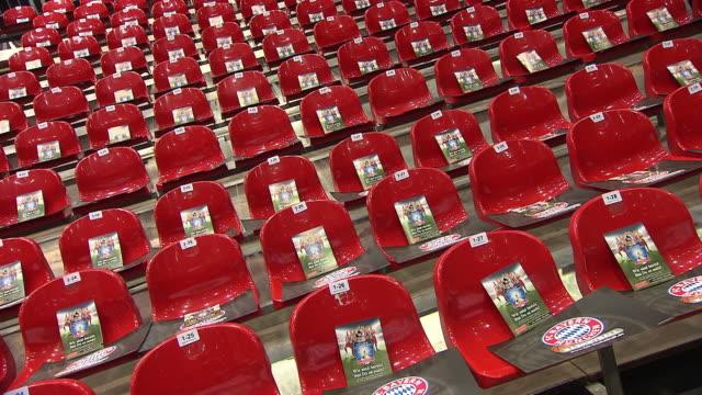 Olympiapark,  red seats, FC Bayern flyer