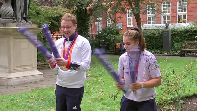olympic and paralympic stars inspire children at great ormond street hospital for race for the kids; england: london: great ormond street hospital:... - leotard stock videos & royalty-free footage