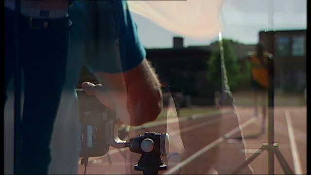 olympic and world sprinting champion usain bolt profile england london ext jamaican sprinter and 100m and 200m world record holder usain bolt in... - 映像撮影点の映像素材/bロール