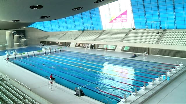 olympic aquatic centre to host first elite swimming competition england london aquatic centre int various of people swimming in pool various of amy... - swimming stock videos & royalty-free footage