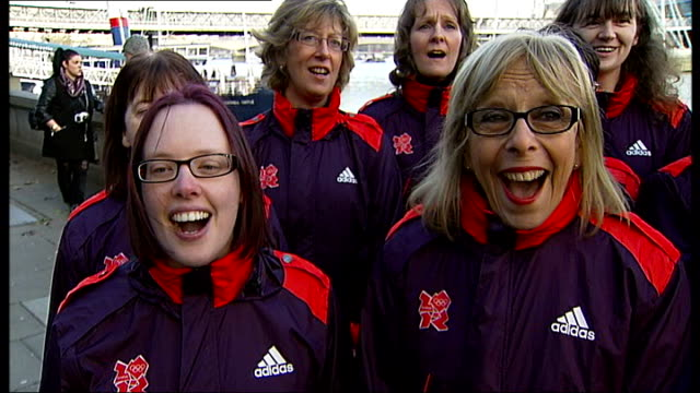 olympic games' makers and musician alistair griffin launch charity christmas single various shots griffin and 'the games maker choir' singing 'i wish... - griffin stock videos & royalty-free footage