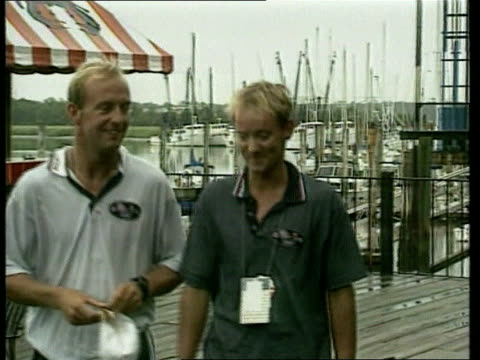 olympic games; no logos british yachtsmen john merricks and ian walker towards (silver medal winners pull out ditto and past cms ian walker intvw sot... - zweiter platz stock-videos und b-roll-filmmaterial