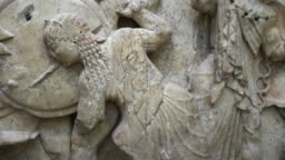 Olympic goddess of wisdom Athena in ancient greek relief representation