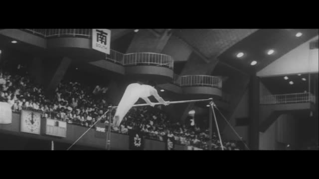 stockvideo's en b-roll-footage met olympic gymnastic team selected/olympic gymnastic team hayata for parallel bars tsurumi for the bar endo on the floor ono on the floor aihara on the... - de brug