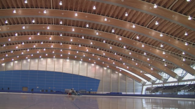 ws pan olympic ice rink / vancouver, british columbia, canada - ice rink stock videos & royalty-free footage
