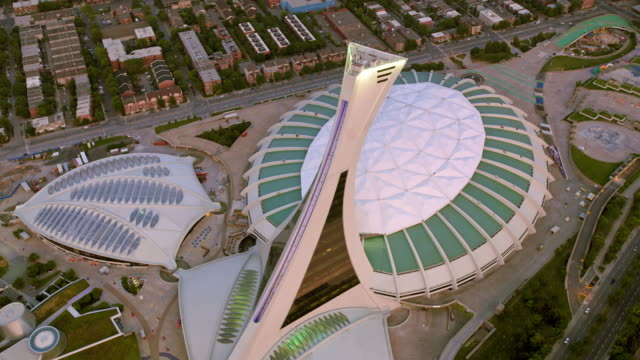 aerial olympic park in montreal, quebec - montréal stock videos & royalty-free footage
