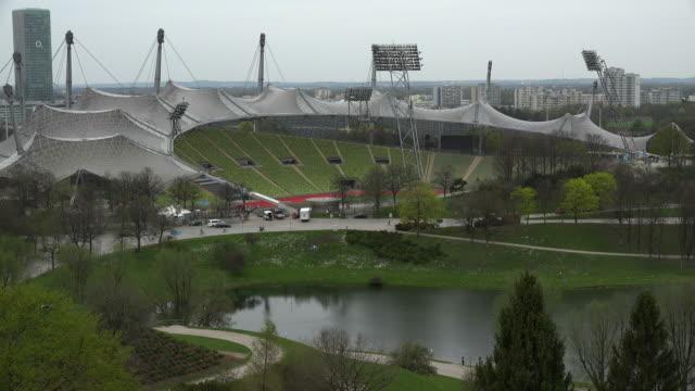 olympic park, munich, bavaria, germany - flutlichter stock-videos und b-roll-filmmaterial