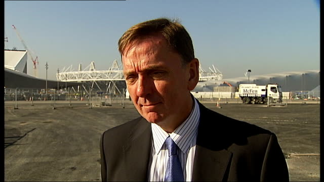 Olympic Park under construction / Mayor of Newham interview Sir Robin Wales interview SOT on bid for 2017 Athletics World Championships on legal case...