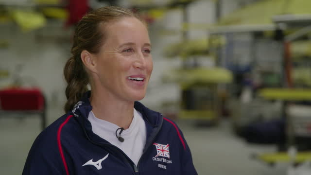 """olympic rower helen glover saying her young children being """"early risers has become a nice part of the daily routine"""" - """"bbc news"""" stock videos & royalty-free footage"""