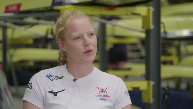"""olympic rower polly swann saying she volunteered as a doctor during the covid pandemic as """"it was bigger than sport"""" - """"bbc news"""" stock videos & royalty-free footage"""