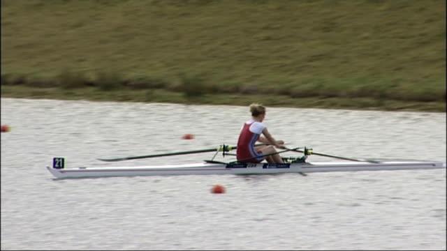 olympic rowing trials at eton dorney england berkshire eton dorney ext general views rowers along / wide shot start of race / general views women... - eton berkshire stock videos and b-roll footage