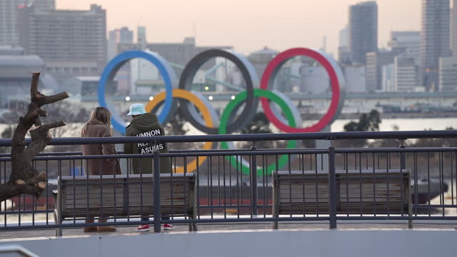 olympic sites as shadow looms over olympic games once more with japan virus surge, in tokyo, japan, on thursday, january 14, 2021. - sport venue stock videos & royalty-free footage