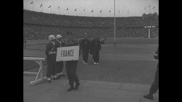 ws of olympic stadium in berlin filled with crowd as us and allies ws of olympic stadium in berlin filled with crowd as us and allies hold the 2nd... - general military rank stock videos and b-roll footage