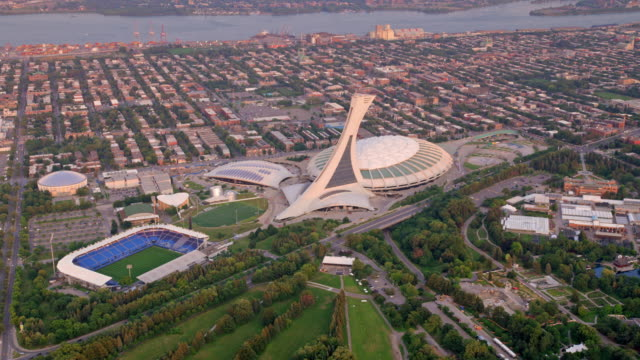 aerial olympic stadium in montreal, canada - montréal stock videos & royalty-free footage