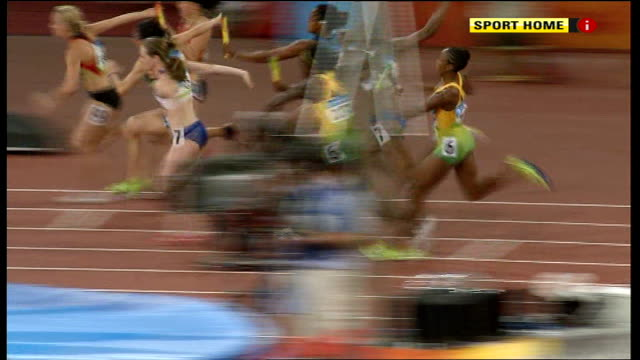 British and Jamaican Women's 4x100 relay teams dropping baton in final and Russian team winning