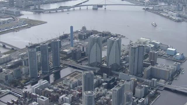 aerial, olympic village, tokyo, japan - olympische spiele stock-videos und b-roll-filmmaterial