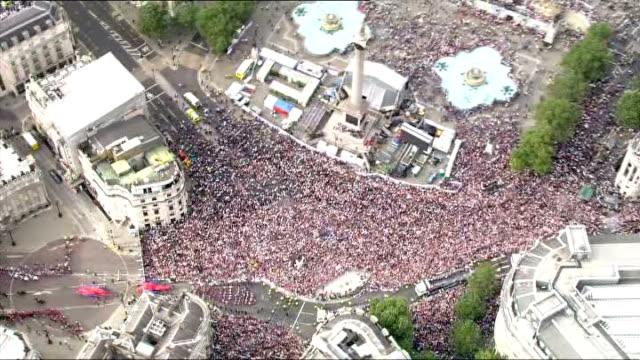 Olympics and Paralympics Athletes' Parade 2012 Aerials at Trafalgar Square ENGLAND London Aerials of crowds and parade through Trafalgar Square