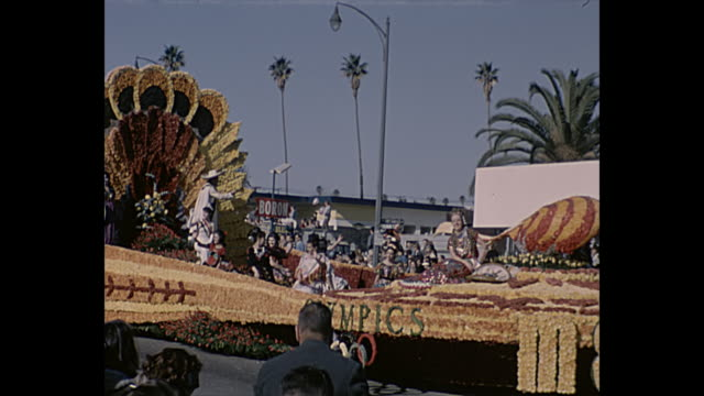 olympics mexico float, britain crowns elizabeth ii float. - pasadena california stock videos & royalty-free footage