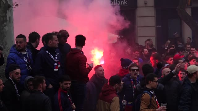 olympique de lyon's ultras invaded the street of barcelona spain on march 13 2019 before the uefa champions league match between fc barcelona and... - olympique lyonnais stock videos and b-roll footage