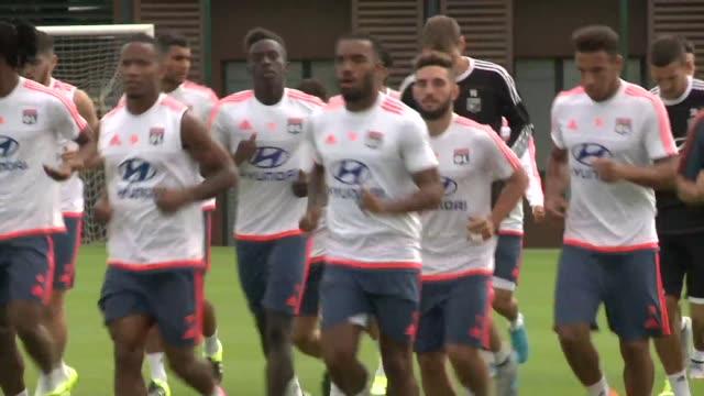vídeos de stock, filmes e b-roll de olympique lyonnais trained on tuesday ahead of their champions trophy match against paris saintgermain - olympique lyonnais